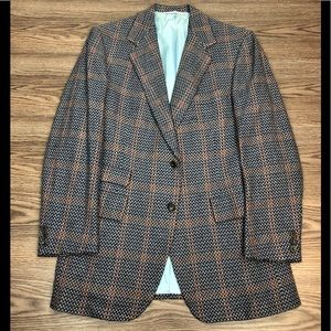 Hickey Freeman Blue w/Orange Windowpane Blazer 42L